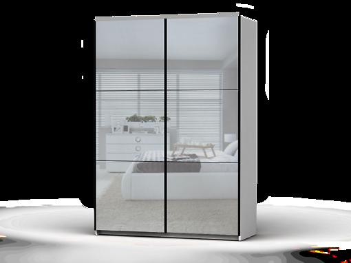 Šatníková skriňa Colin 153 cm biela/zrkadlo