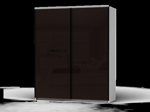 Šatníková skriňa Colin 183 cm biela/tmavohnedý lesk