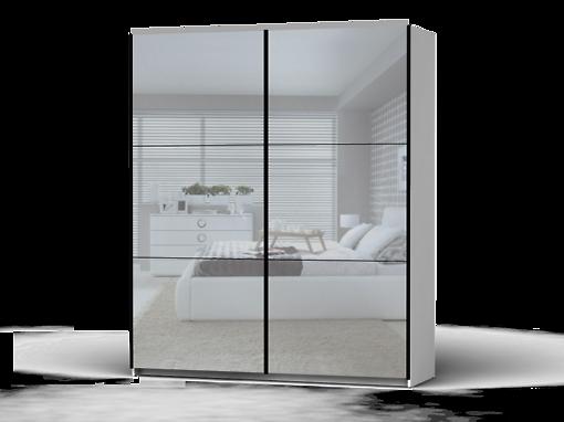 Šatníková skriňa Colin 183 cm biela/zrkadlo