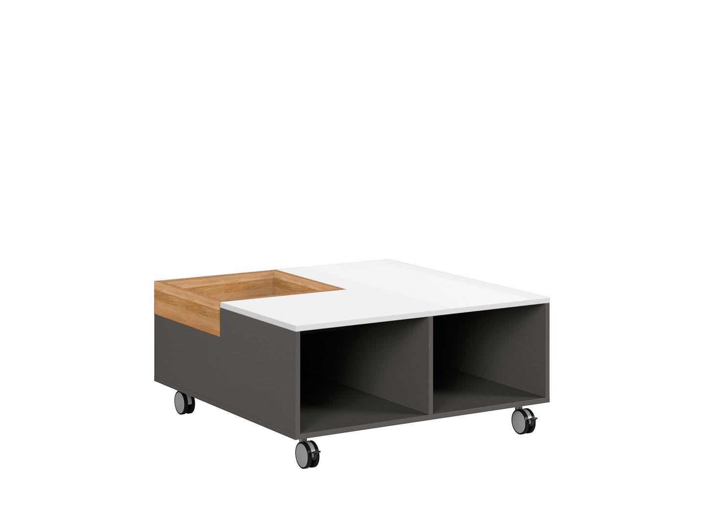Konferenčný stolík GRAPHIC LAW/90 sivý wolfram/biely zrkadlový lesk/dub prírodný)