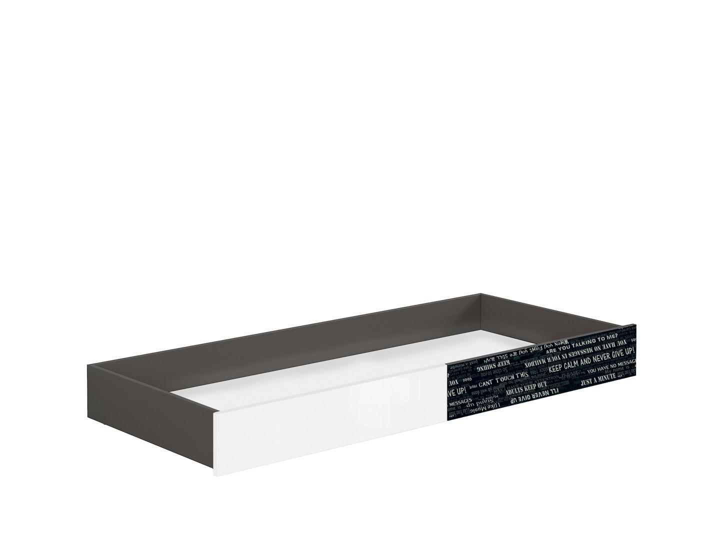 Úložný priestor pod posteľ GRAPHIC SZU/C sivý wolfram/biely zrkadlový lesk/čierny s nádpismi