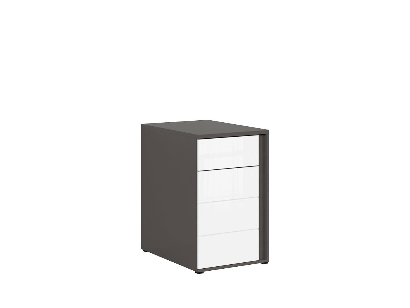 Skrinka GRAPHIC KOM1D1SL/A sivý wolfram/biely vysoký lesk