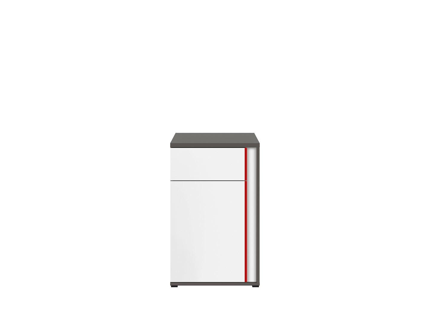 Skrinka GRAPHIC KOM1D1SL/B sivý wolfram/biely/červený