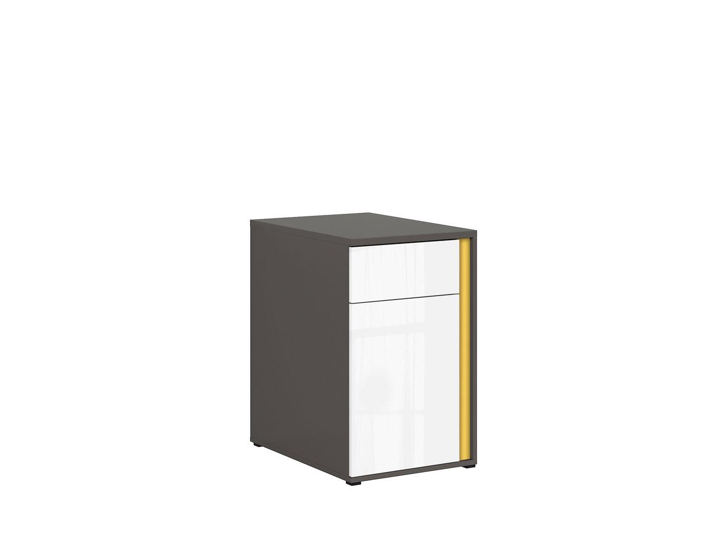 Skrinka GRAPHIC KOM1D1SL/C sivý wolfram/biely zrkadlový lesk