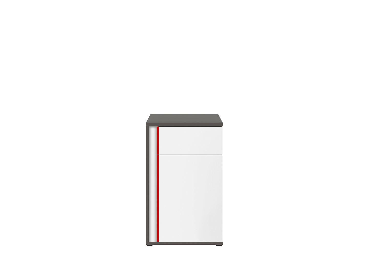 Skrinka GRAPHIC KOM1D1SP/B sivý wolfram/biely/červený