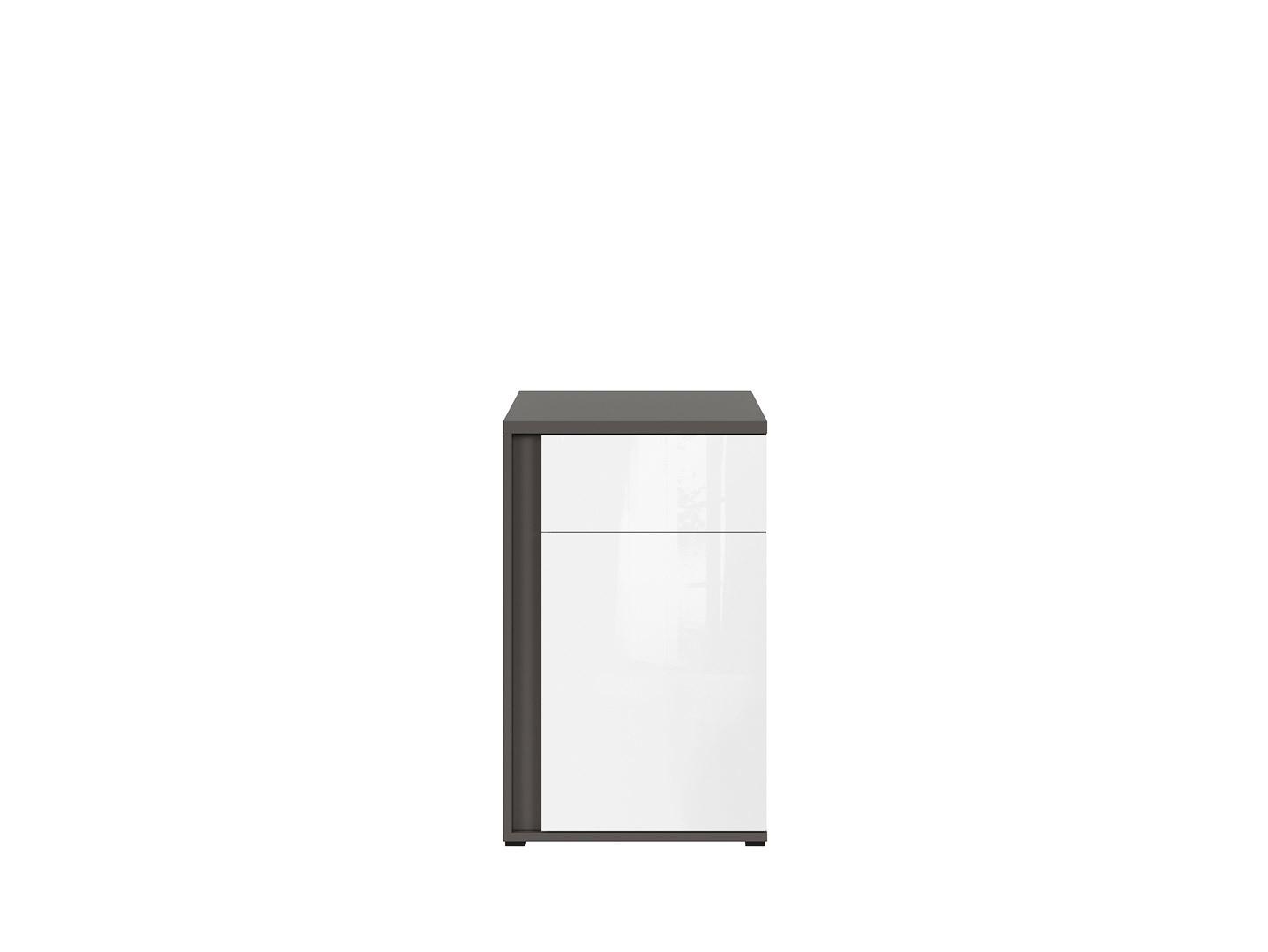 Skrinka GRAPHIC KOM1D1SP/C sivý wolfram/biely zrkadlový lesk