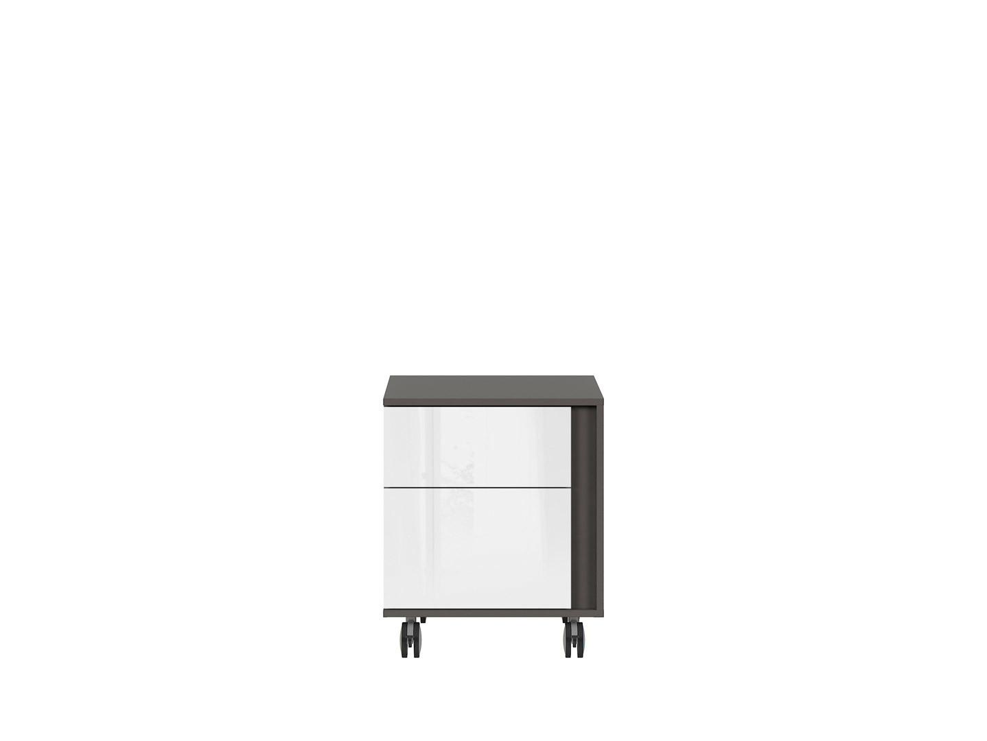 Kontajner na kolieskách GRAPHIC KTN2SL/A sivý wolfram/biely vysoký lesk