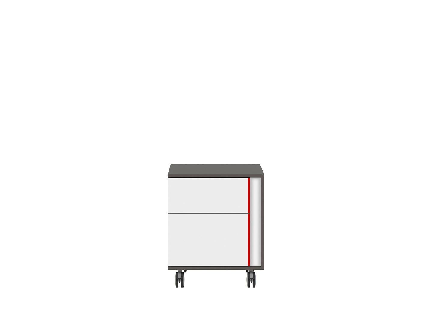 Kontajner na kolieskách GRAPHIC KTN2SL/B sivý wolfram/biely/červený