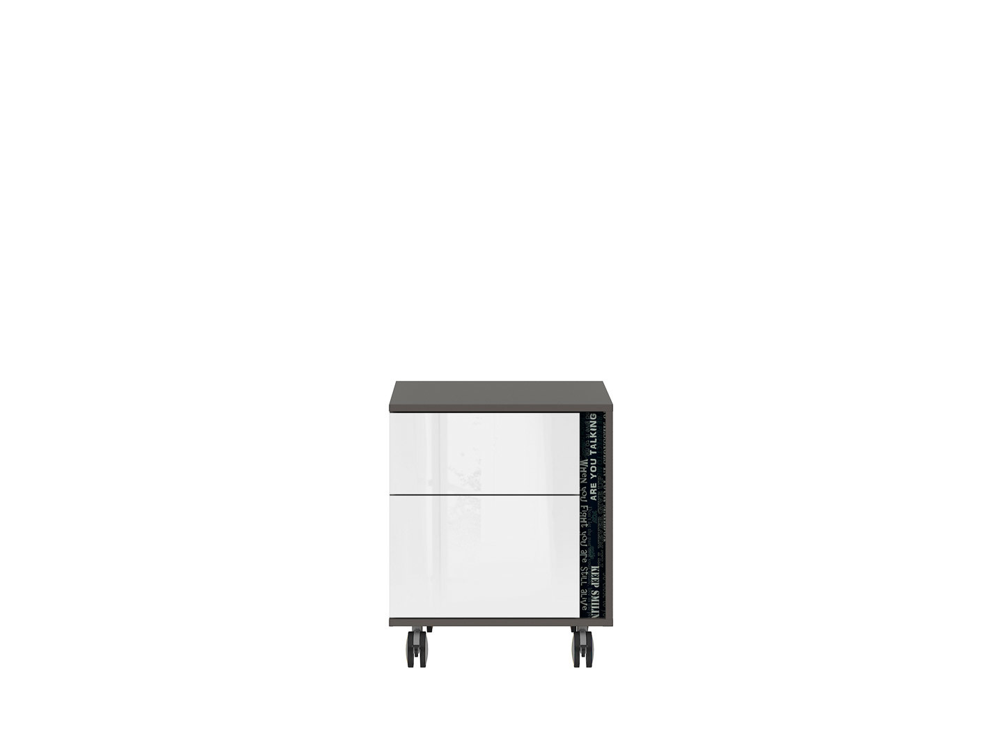 Kontajner na kolieskách GRAPHIC KTN2SL/C sivý wolfram/biely zrkadlový lesk