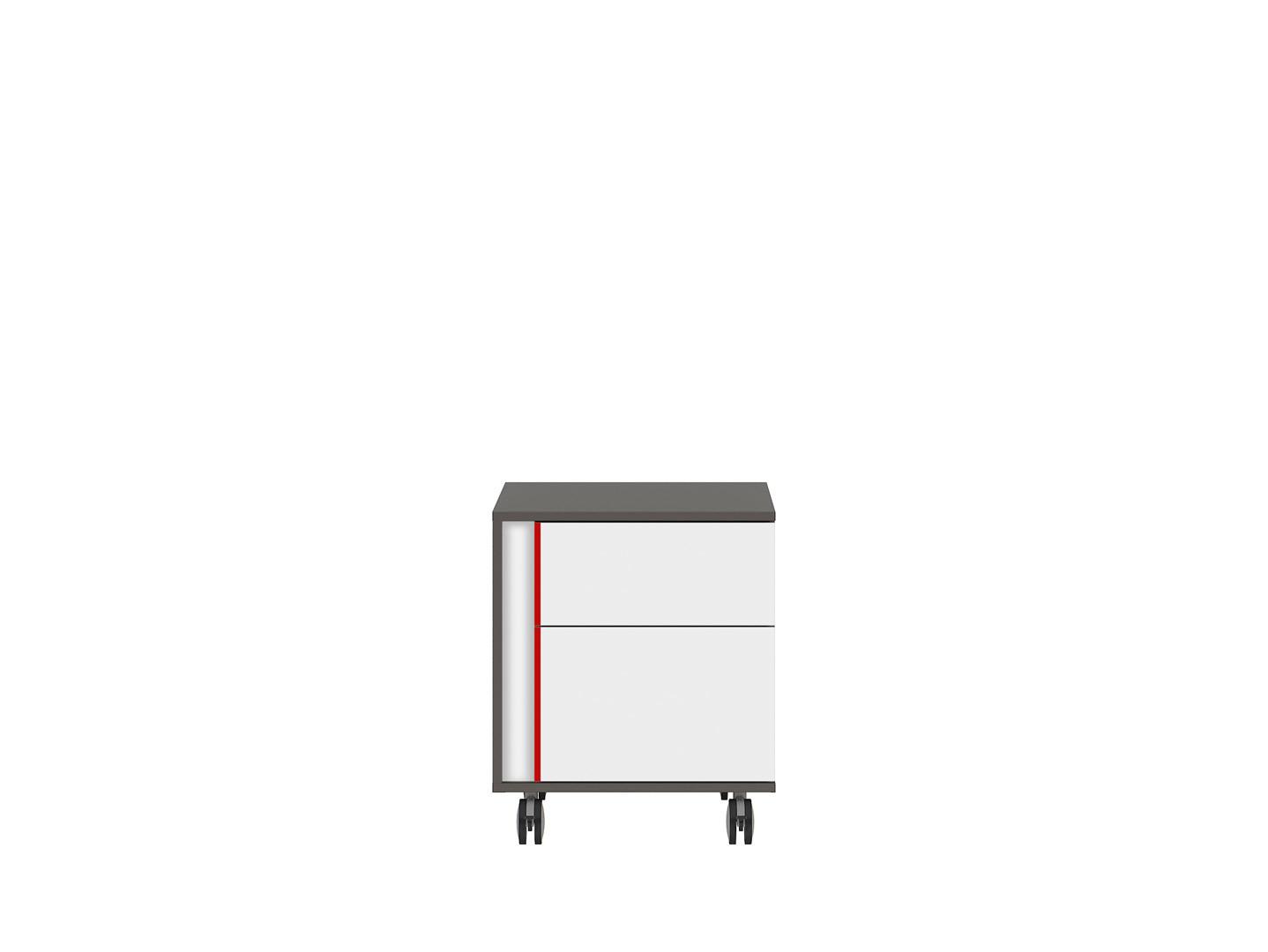 Kontajner na kolieskách GRAPHIC KTN2SP/B sivý wolfram/biely/červený