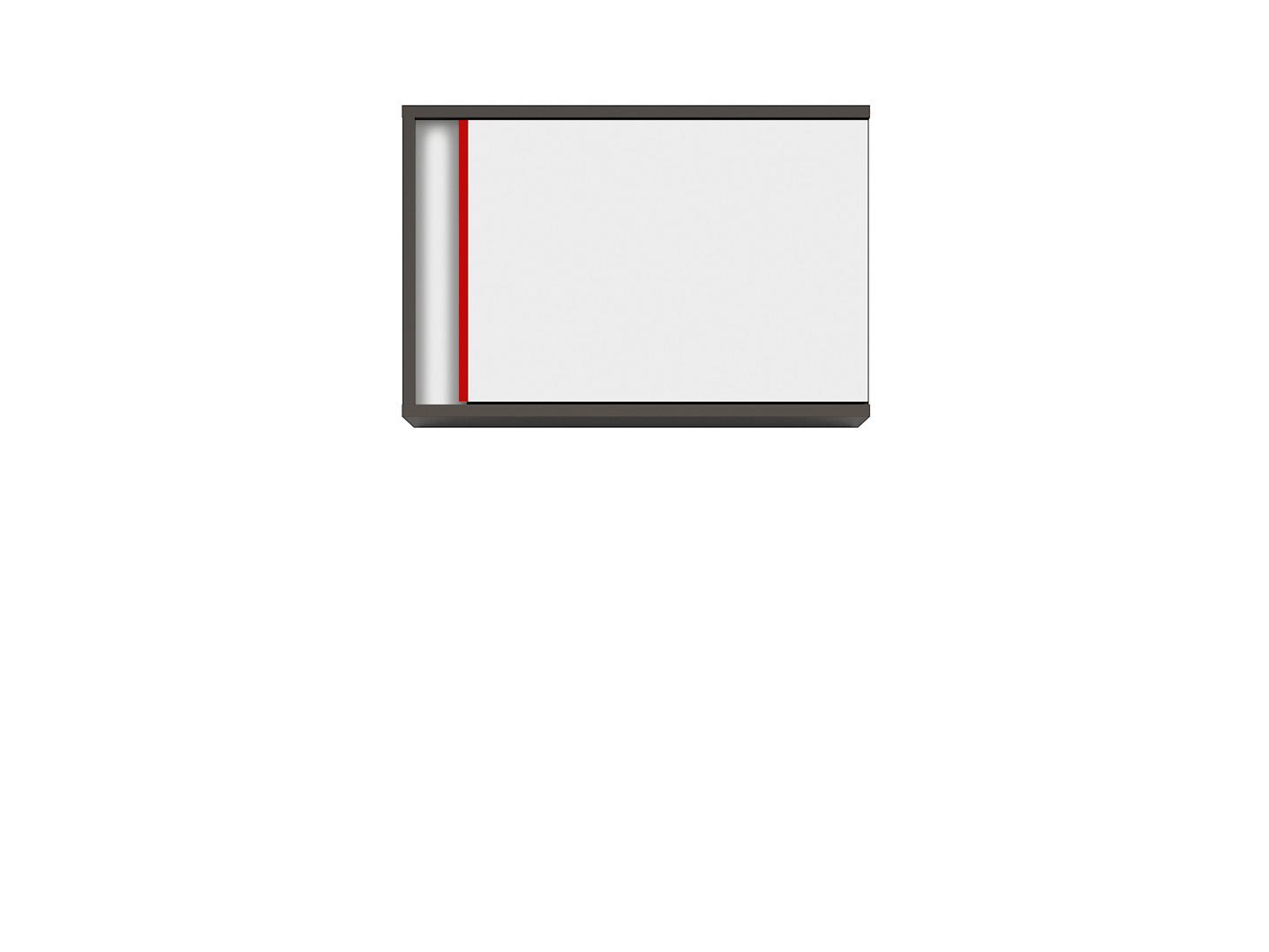 Závesná skrinka GRAPHIC SFW1DP/B sivý wolfram/biely/červený
