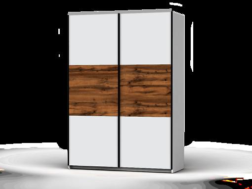 Šatníková skriňa Colin 153 cm biela/biela/dub wotan