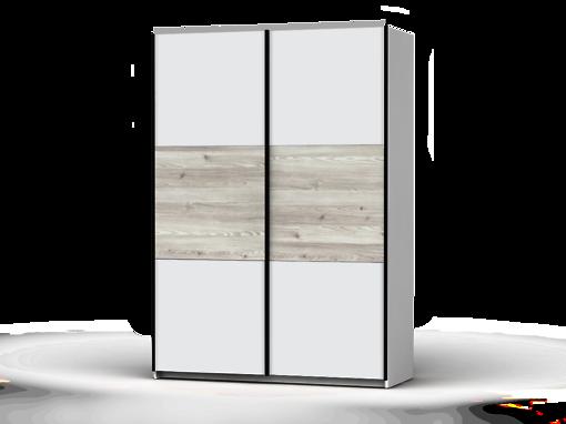Šatníková skriňa Colin 153 cm biela/biela/smrek sibiu svetly