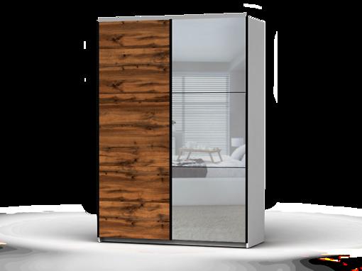 Šatníková skriňa Colin 153 cm biela/dub wotan/zrkadlo
