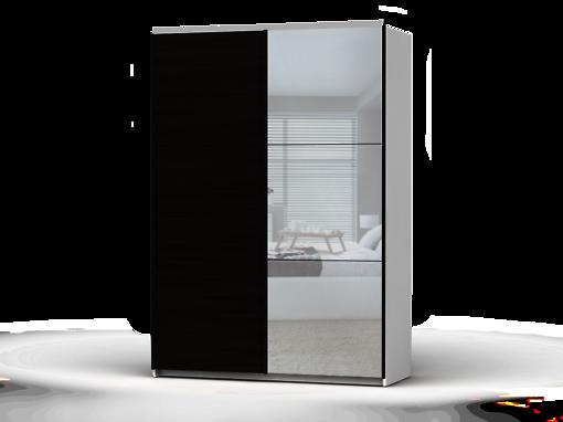Šatníková skriňa Colin 153 cm biela/dub wenge/zrkadlo