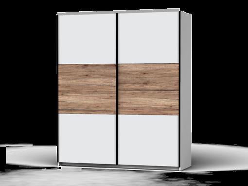 Šatníková skriňa Colin 183 cm biela/biela/dub san remo