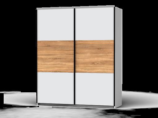 Šatníková skriňa Colin 183 cm biela/biela/sonoma