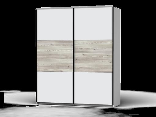 Šatníková skriňa Colin 183 cm biela/biela/smrekovec sibiu svetlý