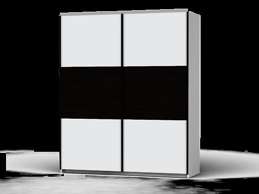 Šatníková skriňa Colin 183 cm biela/biela/dub wenge