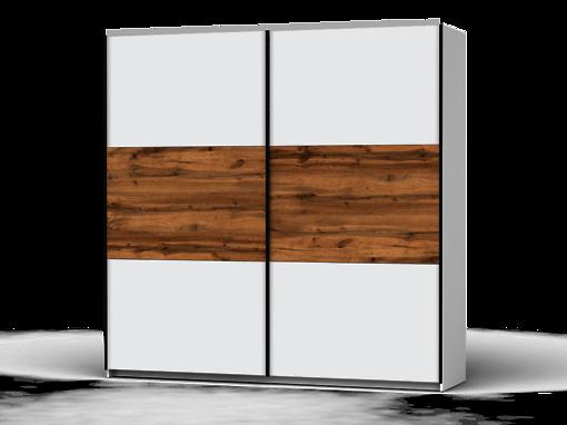 Šatníková skriňa Colin 220 cm biela/biela/dub wotan