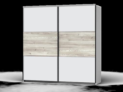 Šatníková skriňa Colin 220 cm biela/biela/smrekovec sibiu svetlý