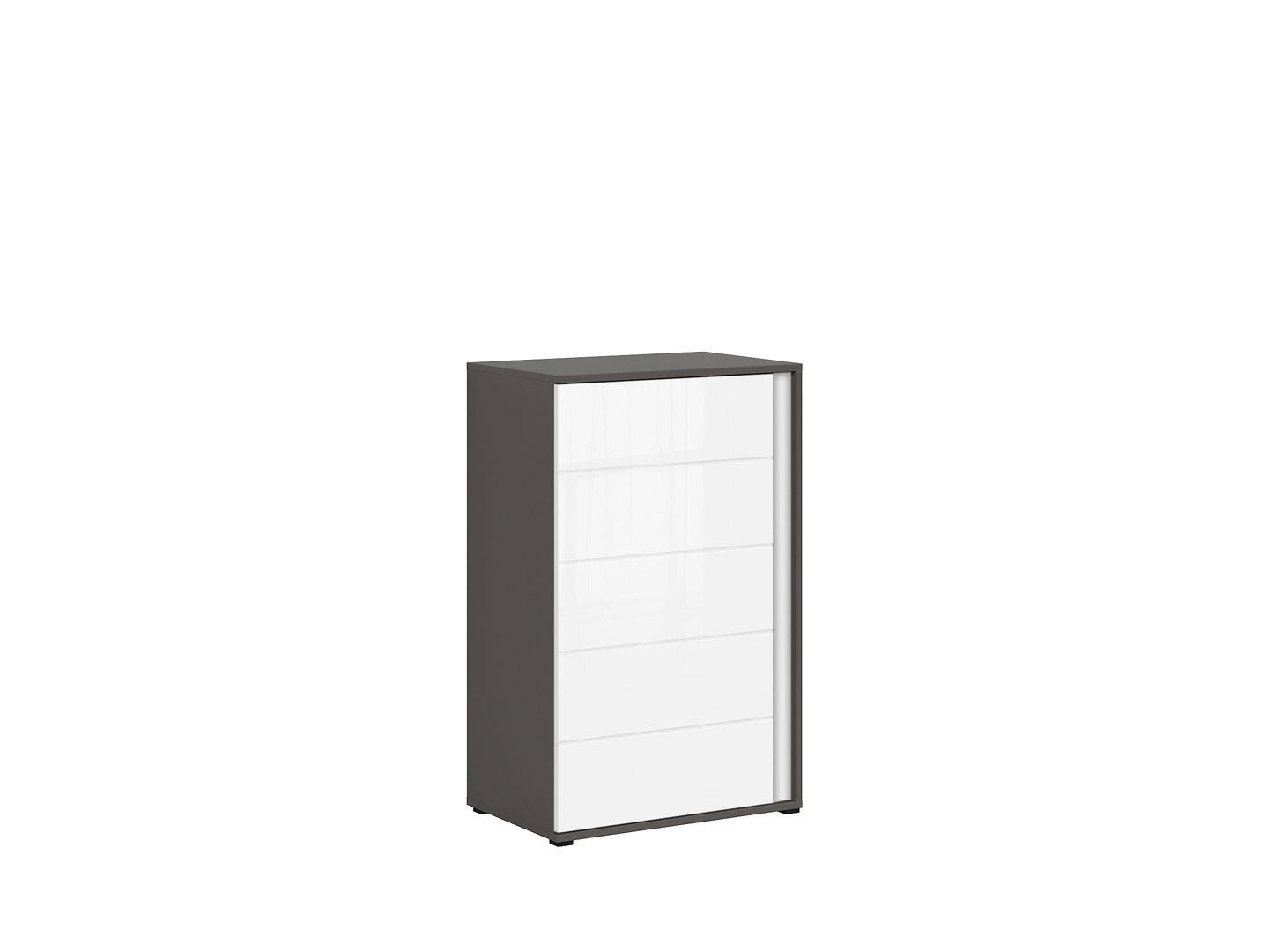 Skrinka GRAPHIC KOM1DL/A sivý wolfram/biely vysoký lesk