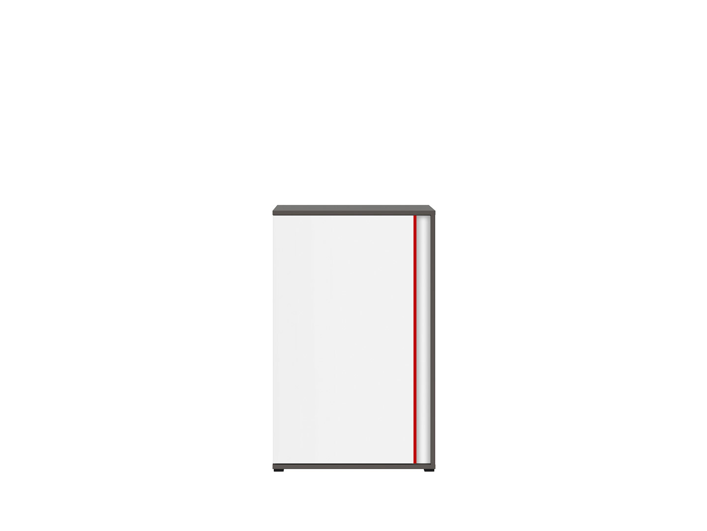 Skrinka GRAPHIC KOM1DL/B sivý wolfram/biely/červený
