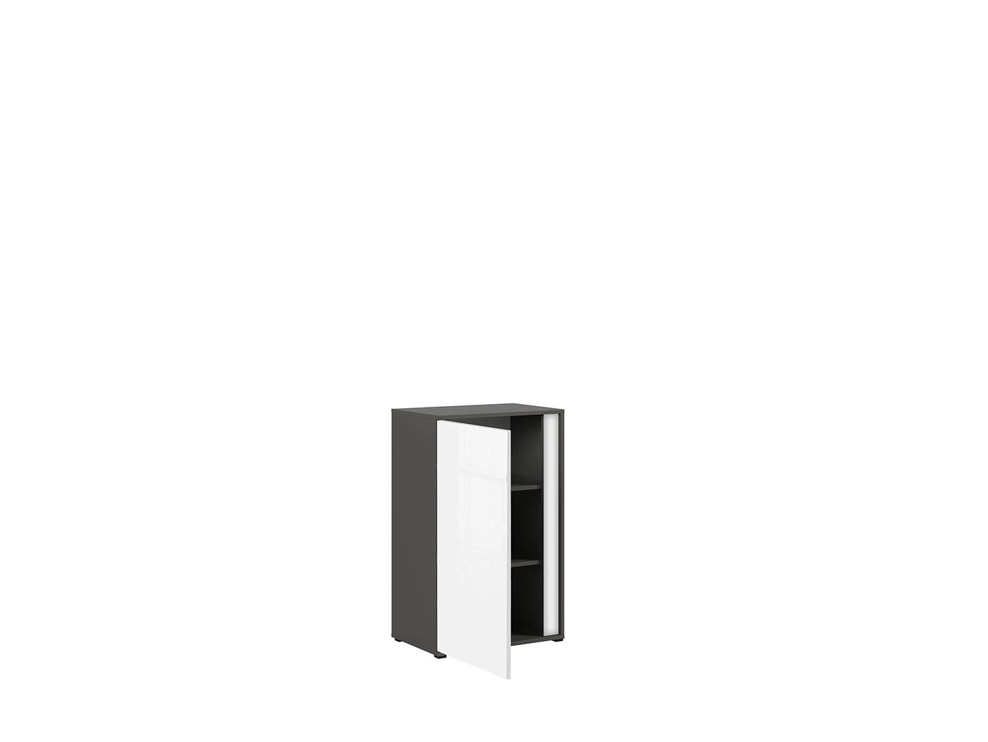 Skrinka GRAPHIC KOM1DL/C sivý wolfram/biely zrkadlový lesk