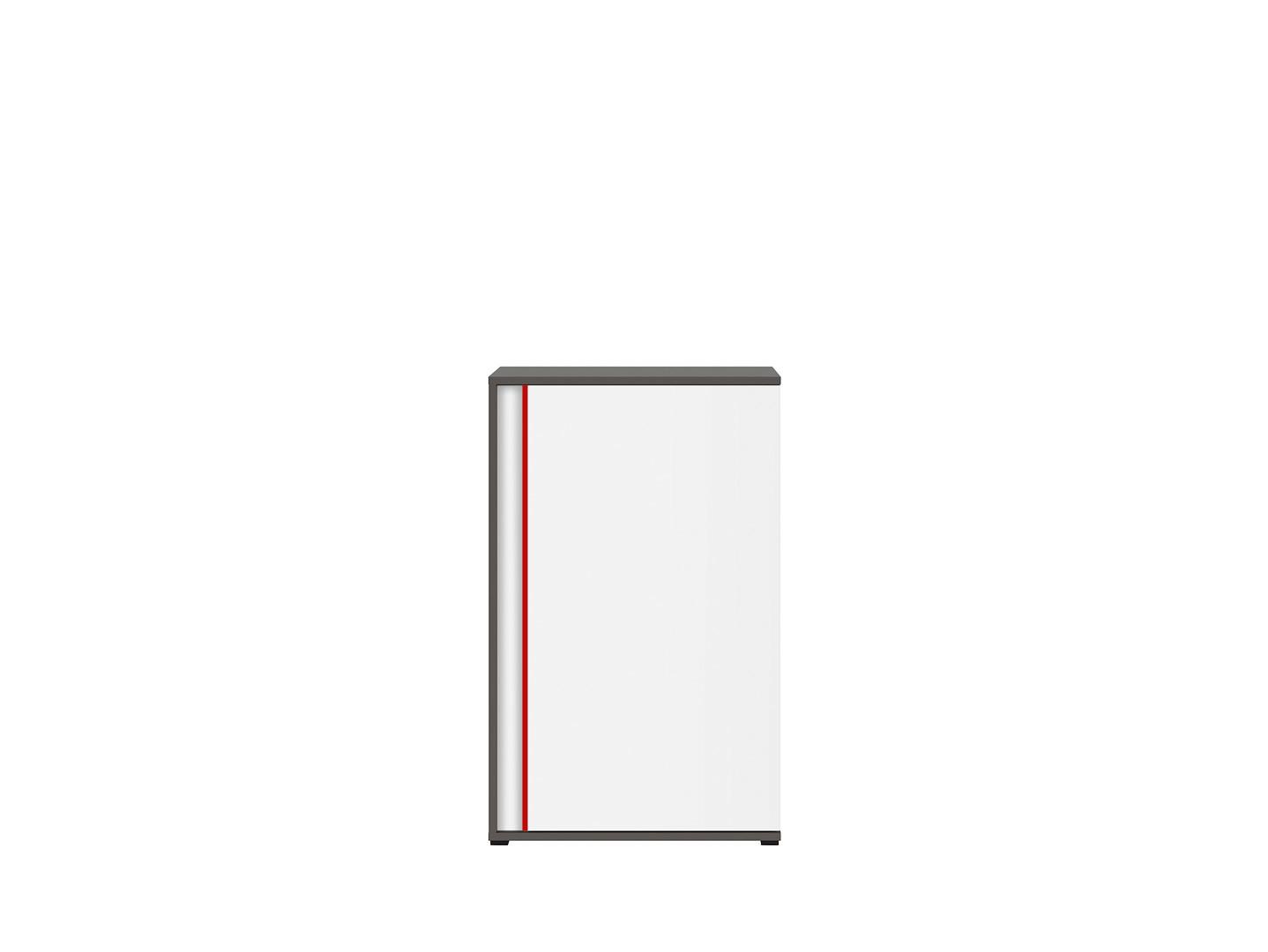 Skrinka GRAPHIC KOM1DP/B sivý wolfram/biely/červený