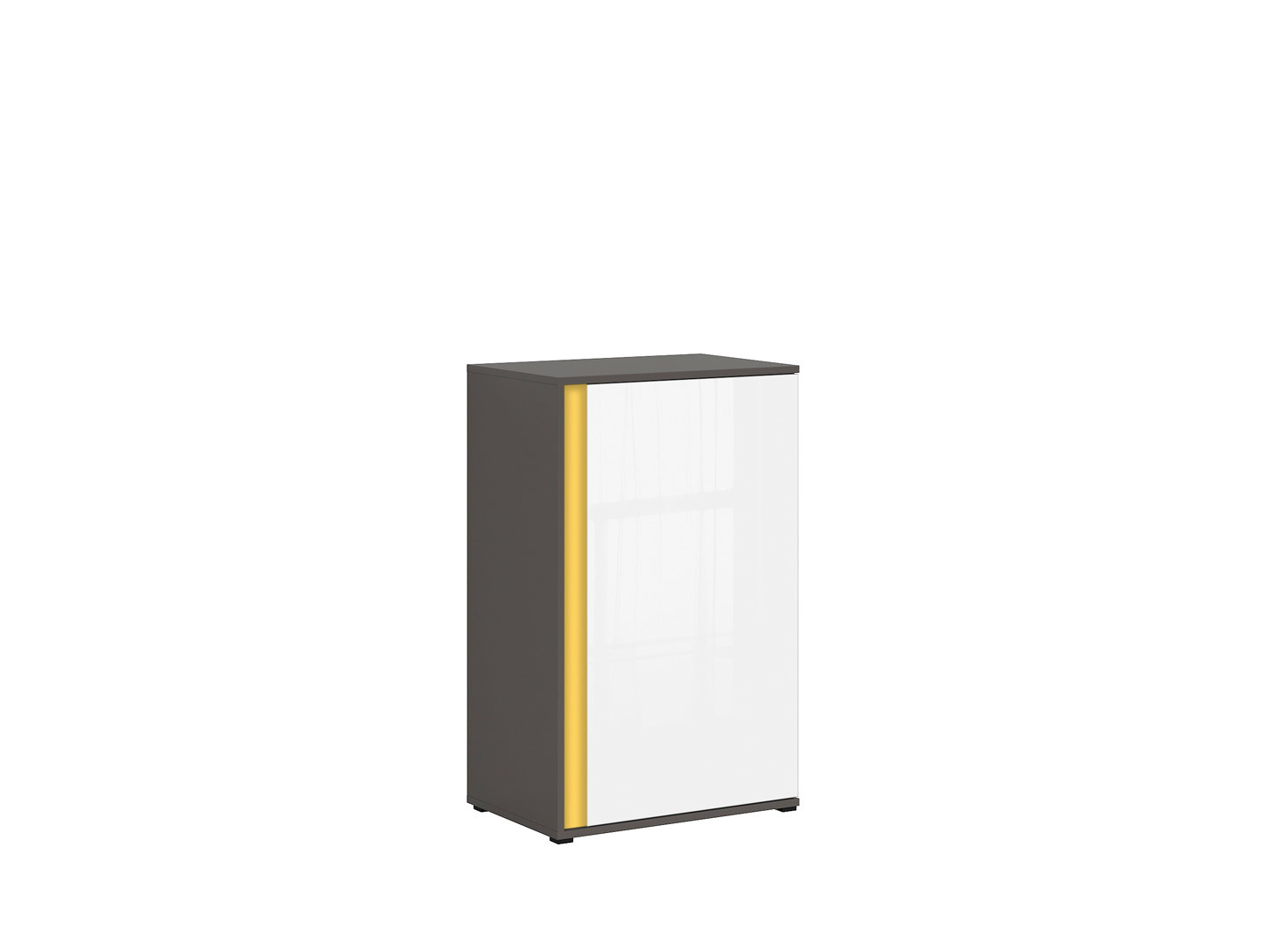 Skrinka GRAPHIC KOM1DP/C sivý wolfram/biely zrkadlový lesk
