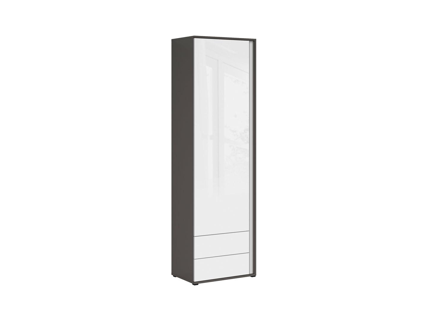 Skriňa GRAPHIC REG1DSL/C sivý wolfram/biely zrkadlový lesk