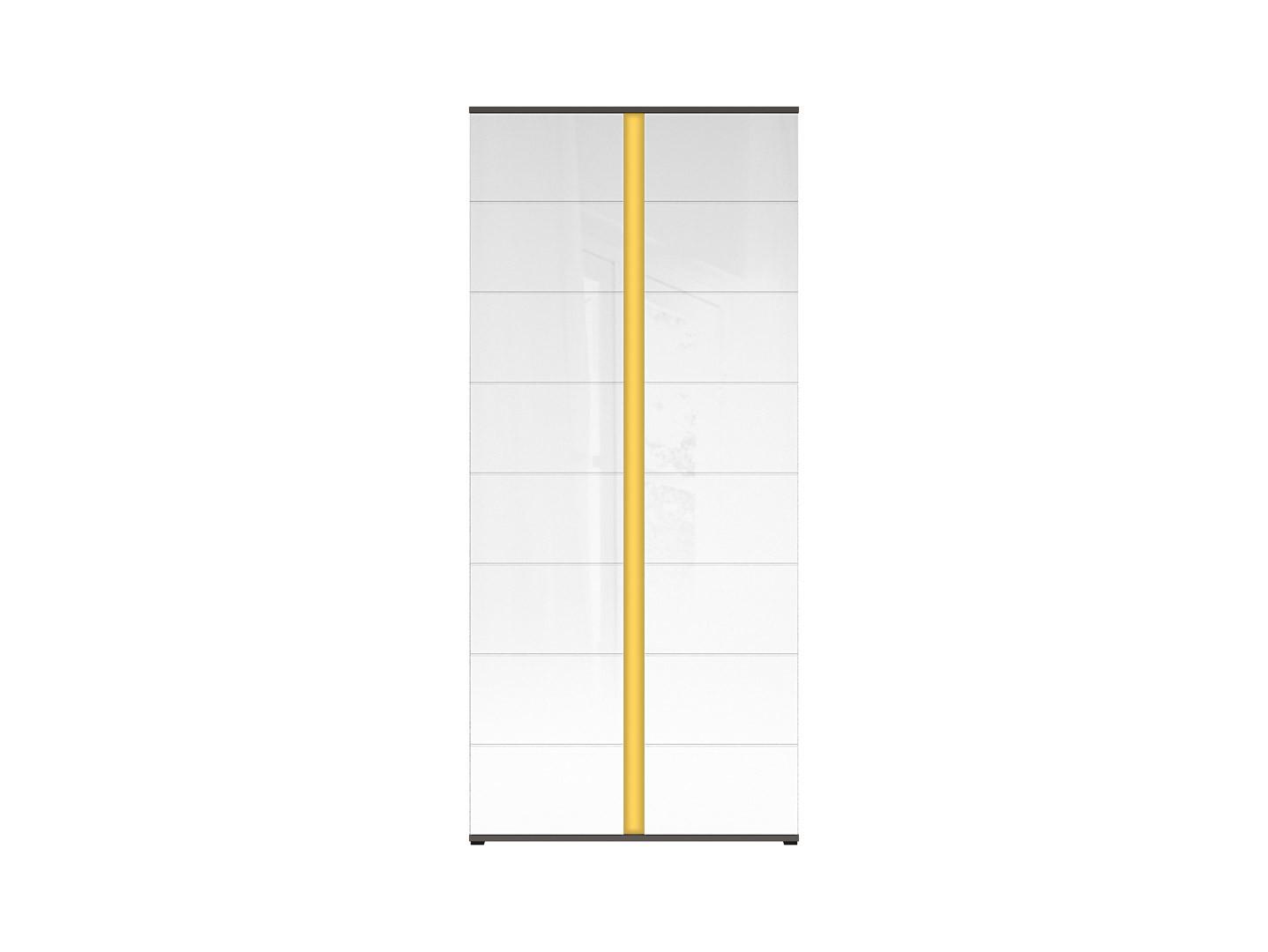 Skriňa GRAPHIC REG2D/86/A sivý wolfram/biely vysoký lesk