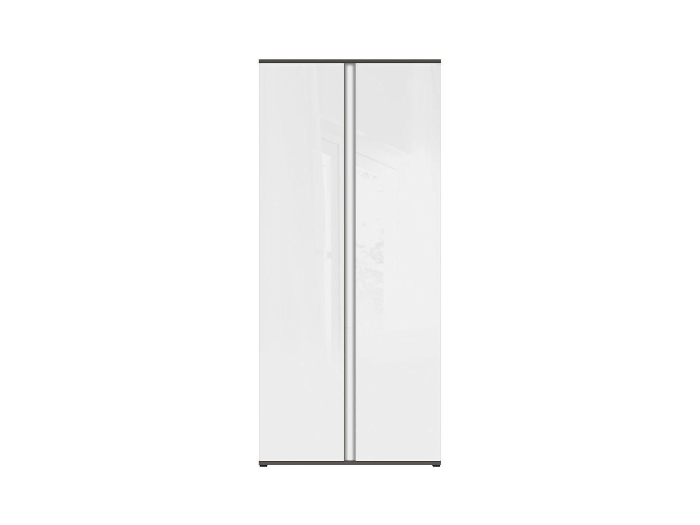 Skriňa GRAPHIC REG2D/86/C sivý wolfram/biely zrkadlový lesk