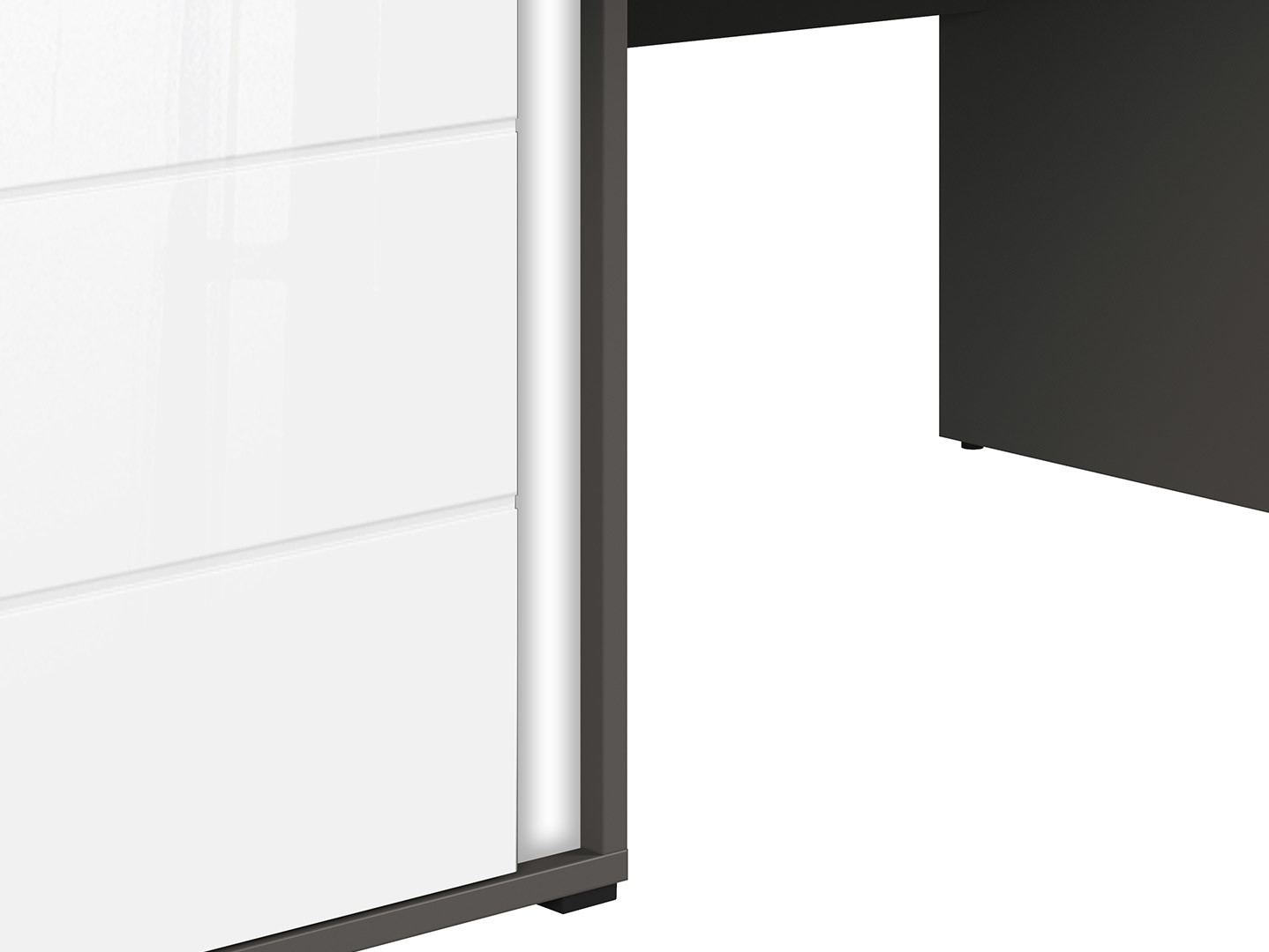 Kancelársky stôl GRAPHIC BIU1D1SL/A šedý/biely lesk