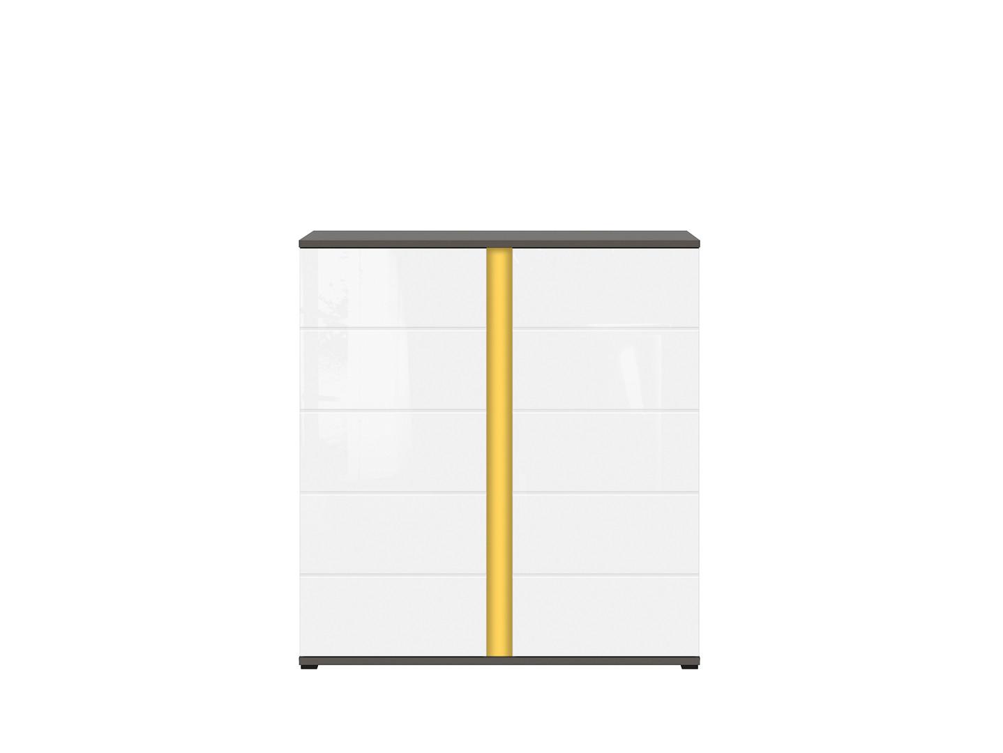 Skrinka GRAPHIC KOM2D/A sivý wolfram/biely vysoký lesk