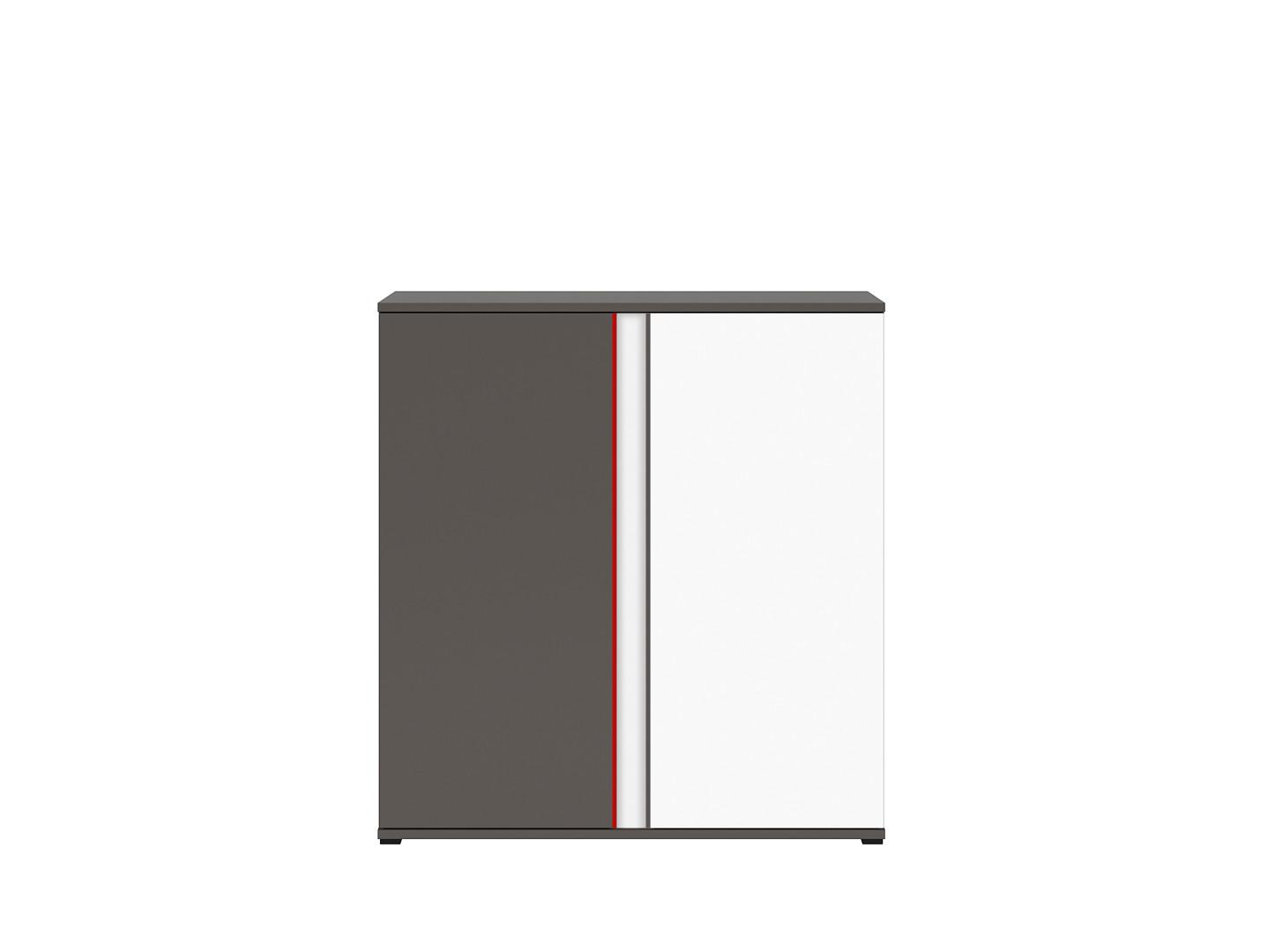 Skrinka GRAPHIC KOM2D/B sivý wolfram/biely/červený
