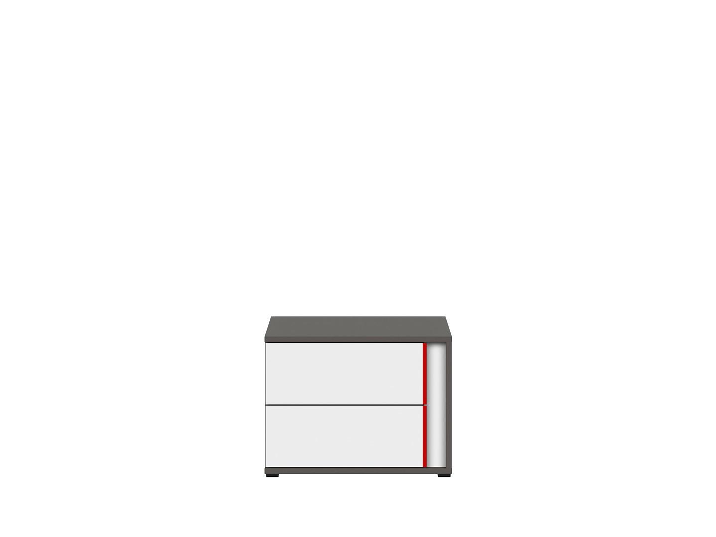 Nočný stolík GRAPHIC KOM2SL/B sivý wolfram/biely/červený