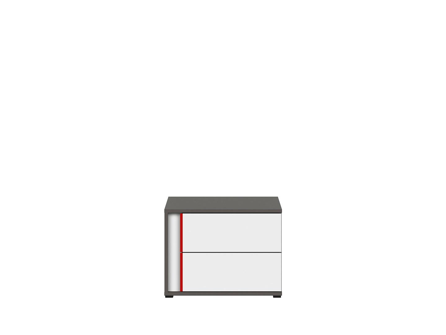Nočný stolík GRAPHIC KOM2SP/B sivý wolfram/biely/červený
