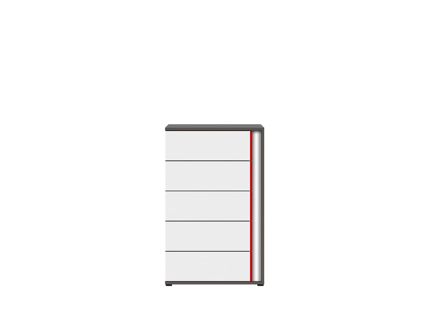 Komoda GRAPHIC KOM5SL/B sivý wolfram/biely/červený