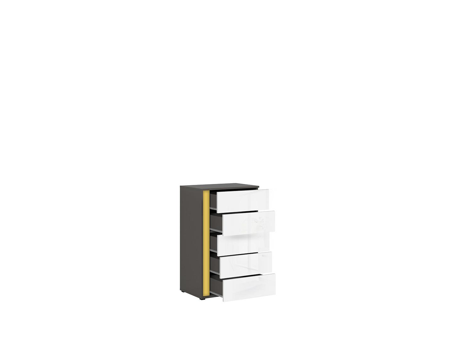 Komoda GRAPHIC KOM5SP/A sivý wolfram/biely vysoký lesk