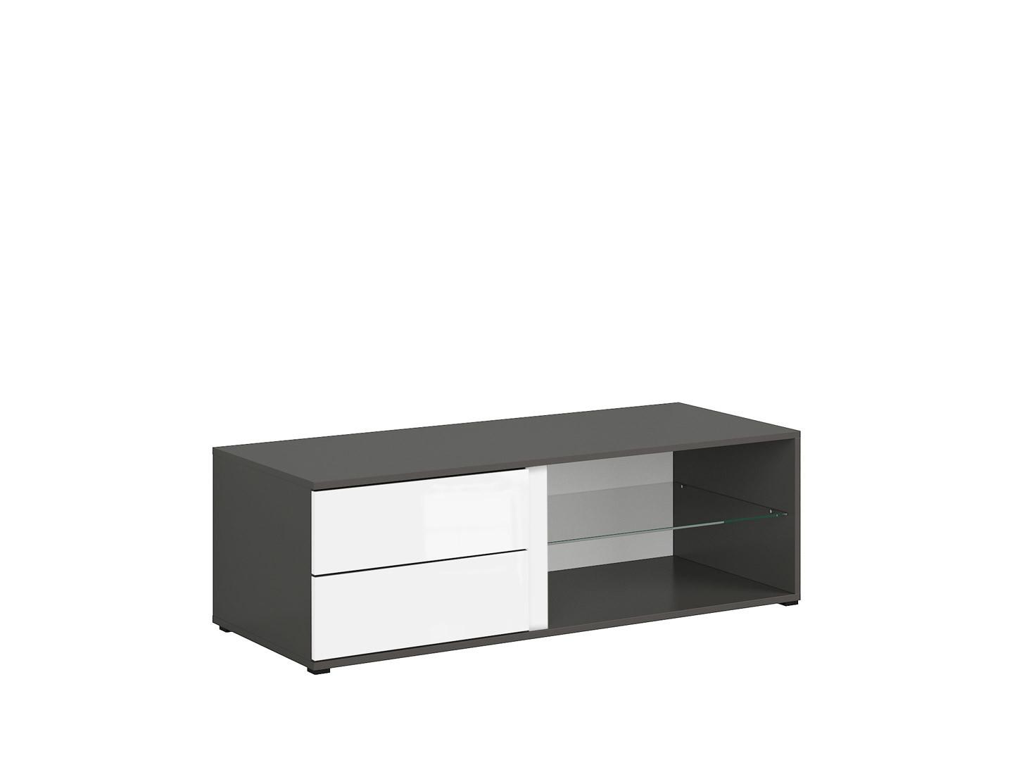TV stolík GRAPHIC RTV2S/120/A sivý wolfram/biely vysoký lesk
