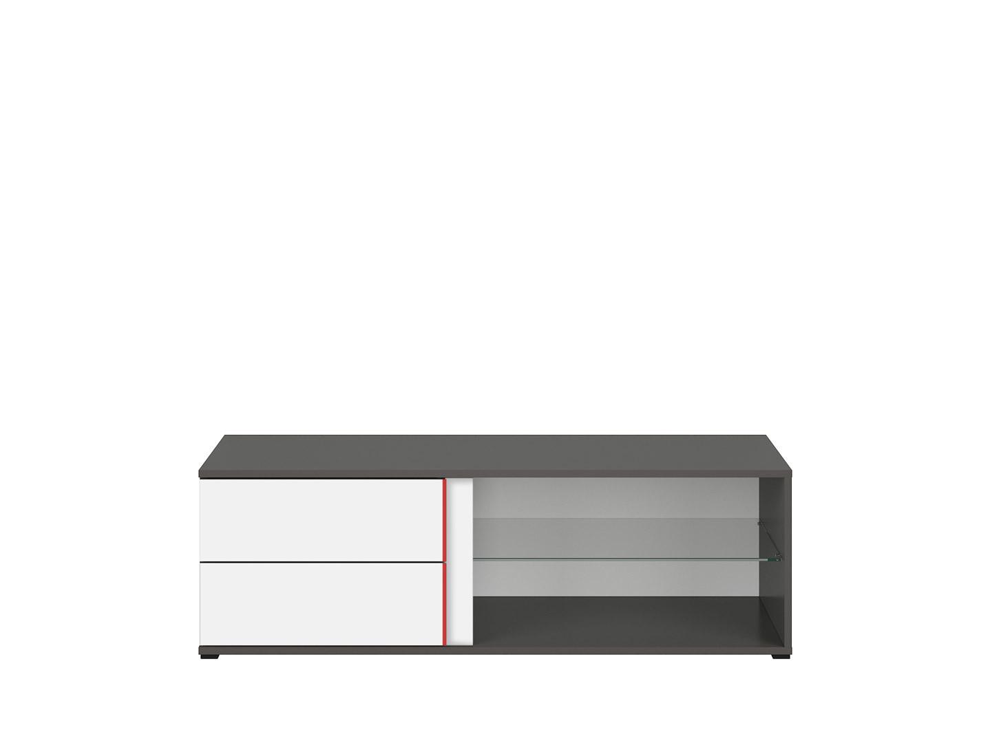 TV stolík GRAPHIC RTV2S/120/B sivý wolfram/biely/červený