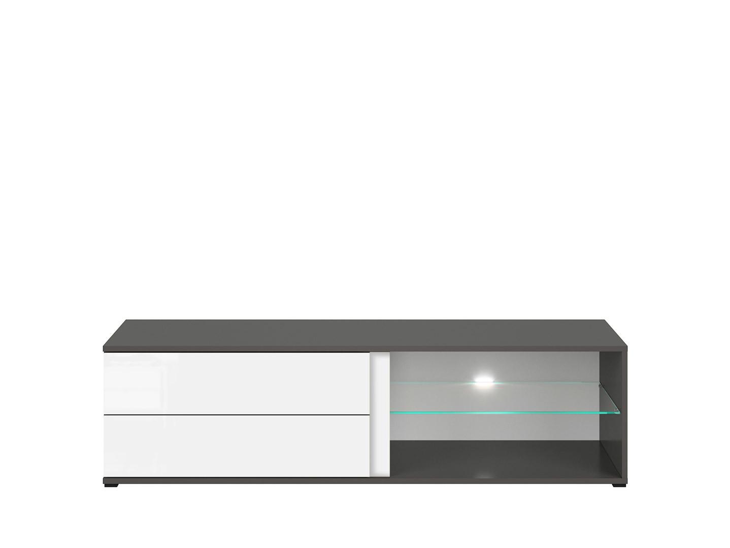 TV stolík GRAPHIC RTV2S/142/A sivý wolfram/biely vysoký lesk