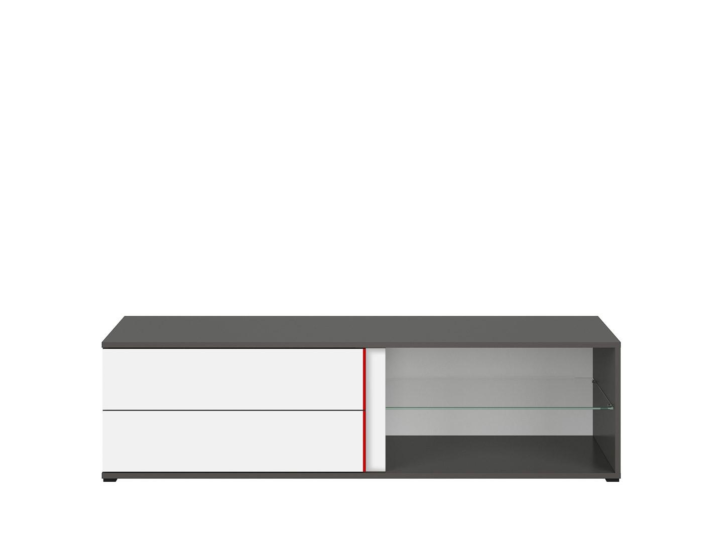 TV stolík GRAPHIC RTV2S/142/B sivý wolfram/biely/červený