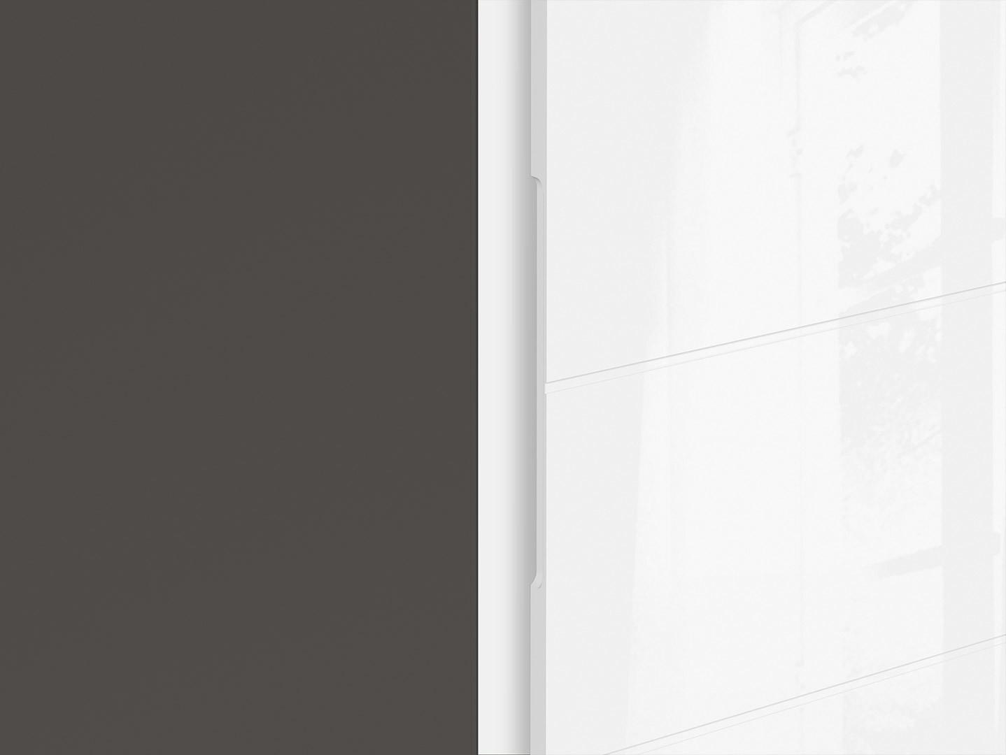 Skriňa GRAPHIC SZF2D/A sivý wolfram/biely vysoký lesk