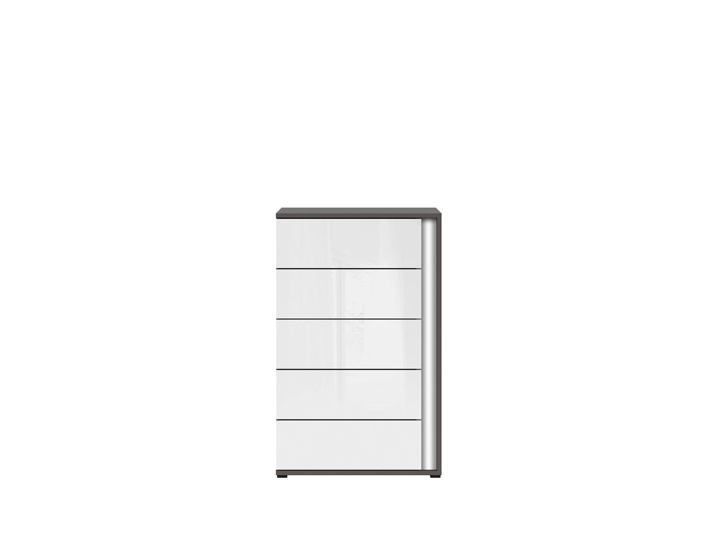 Komoda GRAPHIC KOM5SL/A sivý wolfram/biely vysoký lesk