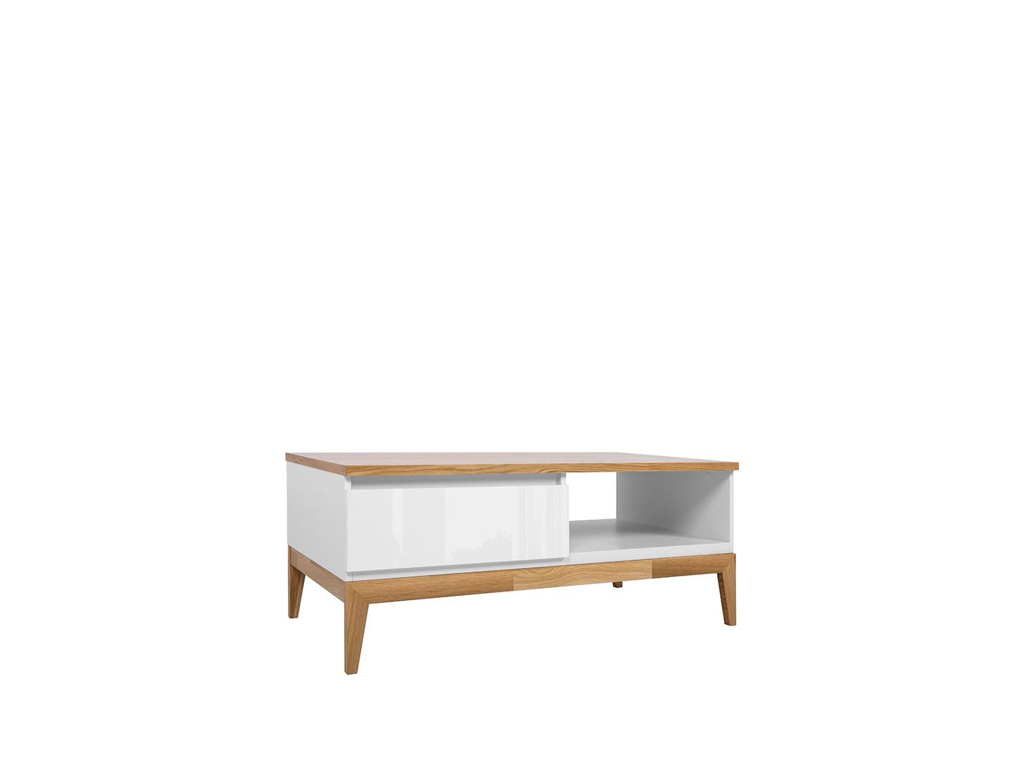 Konferenčný stolík KIOTO LAW1S biela/ biely lesk/ dub prírodný