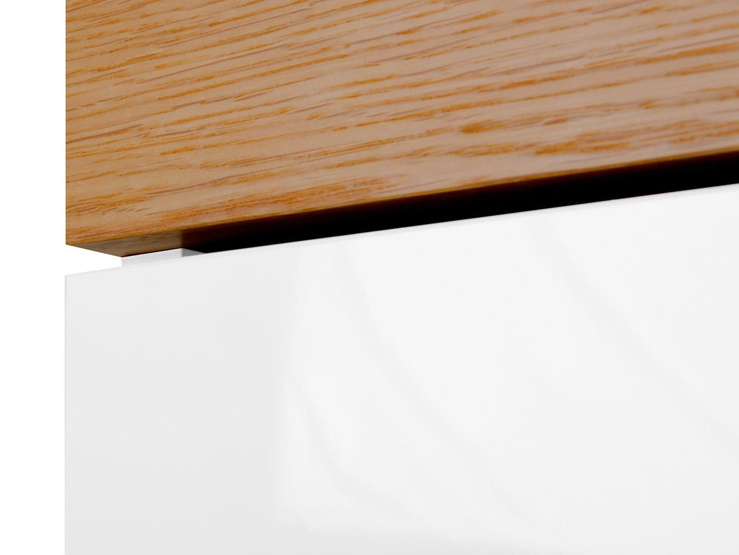 Skriňa KIOTO SZF2D1S biela/ biely lesk/ dub prírodný