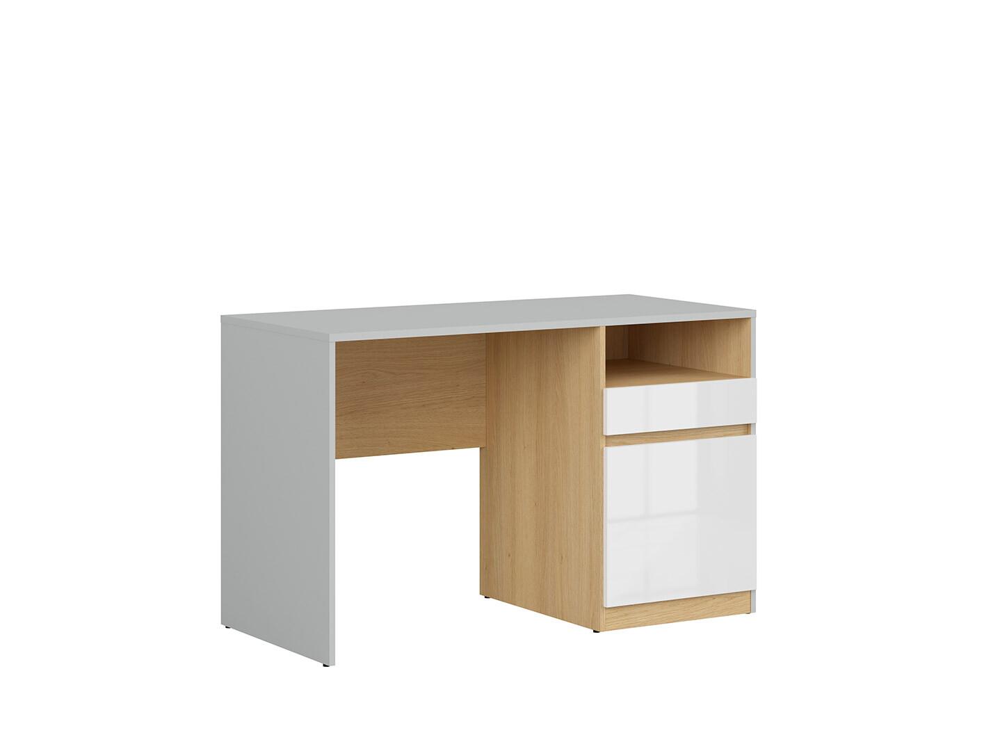 Písací stôl NANDU BIU1D1S svetlosivá/ dub poľský/ biely lesk