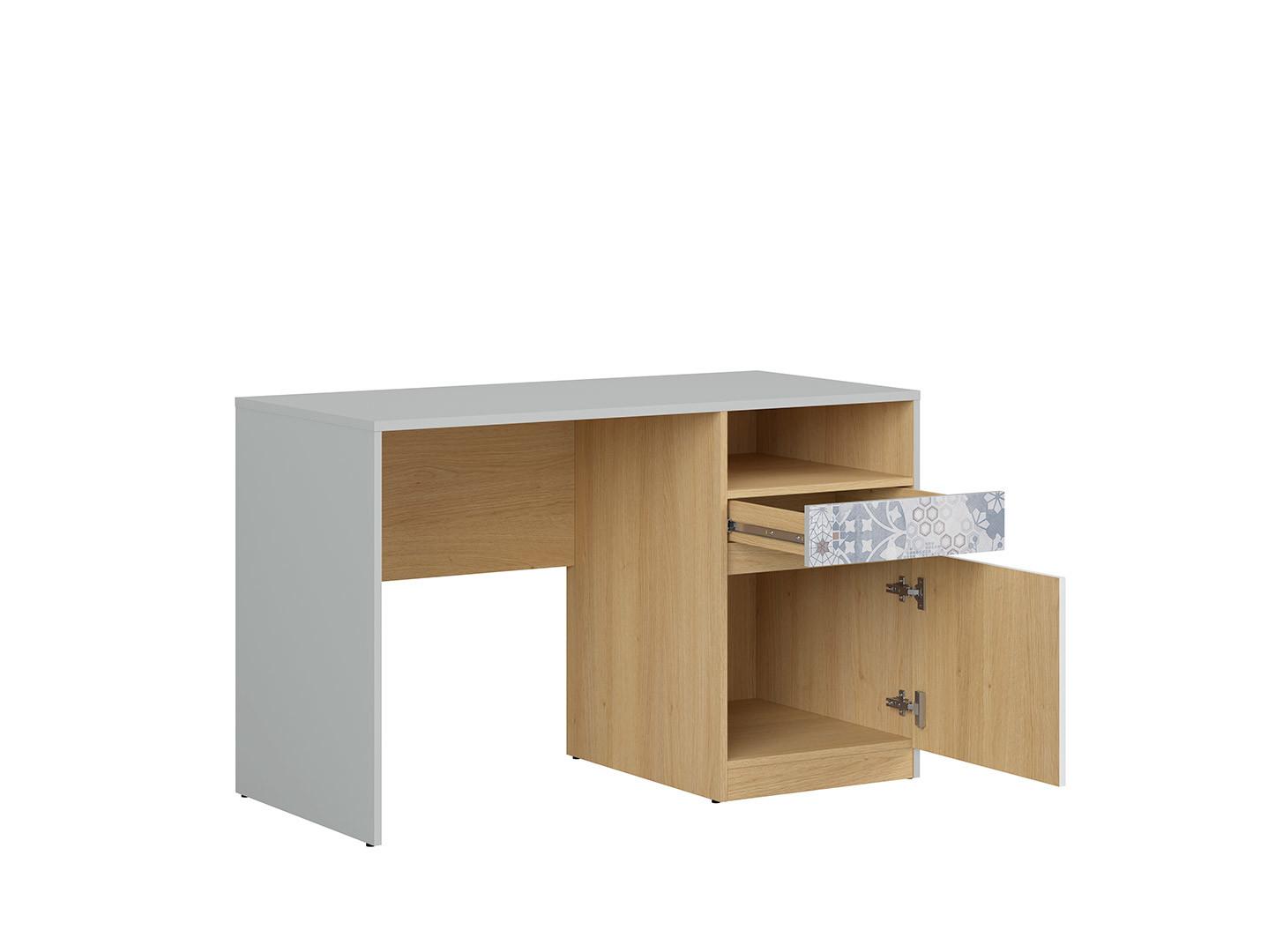Písací stôl NANDU BIU1D1S svetlosivá/ dub poľský/ biely lesk/ arabesk
